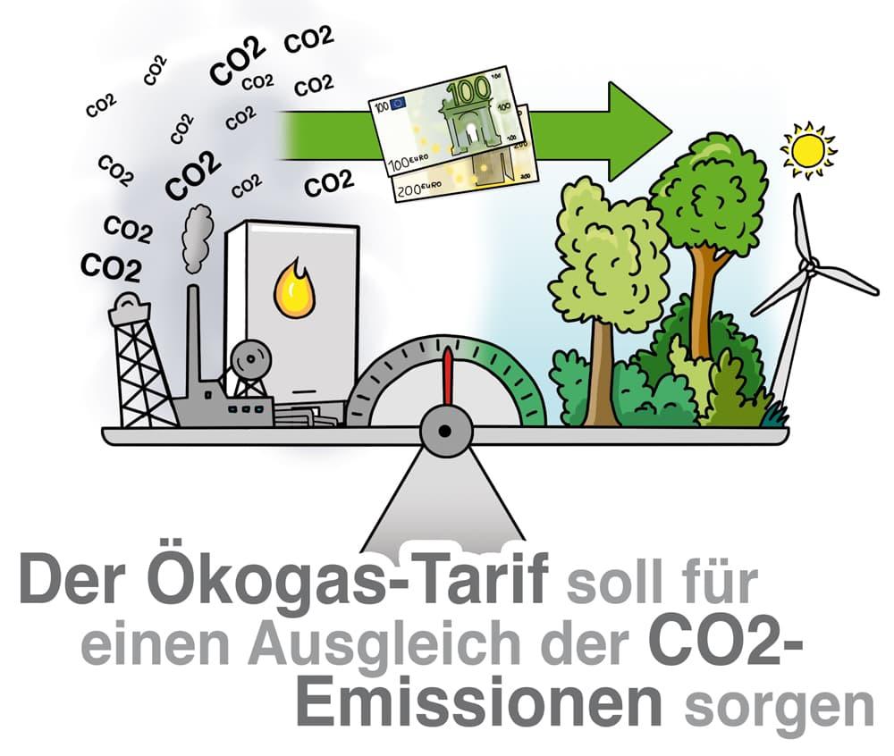 Bei einem Ökogas-Tarif werden die CO2-Emissionen ausgeglichen
