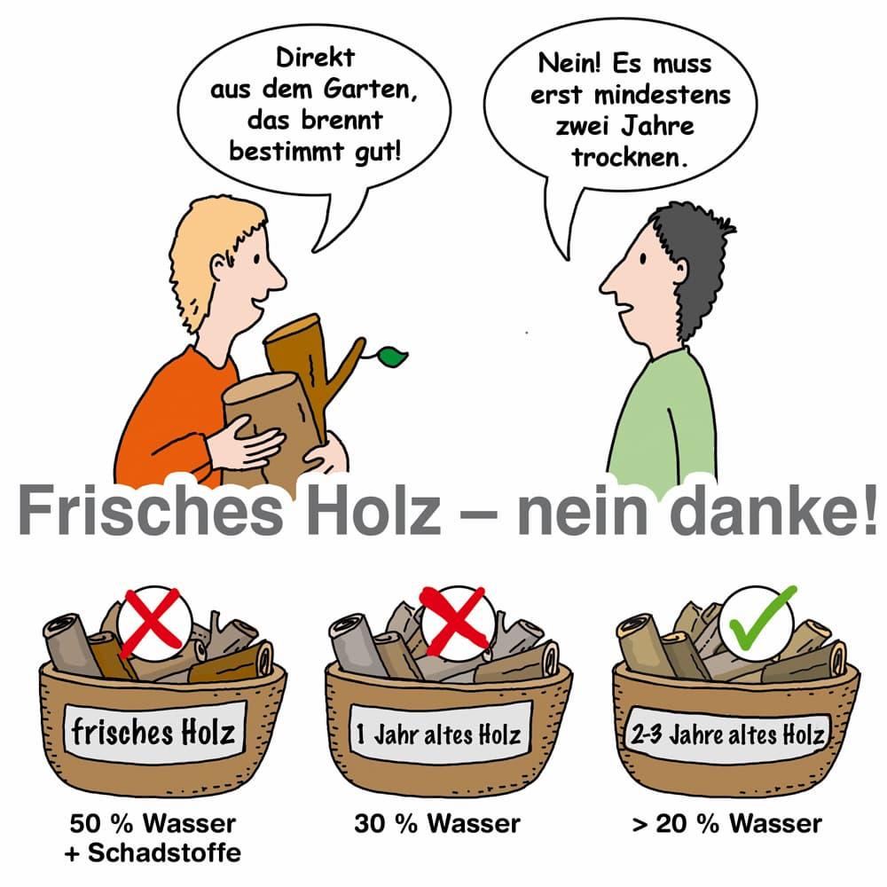 Brennholz: Frisches Holz: Nein Danke!