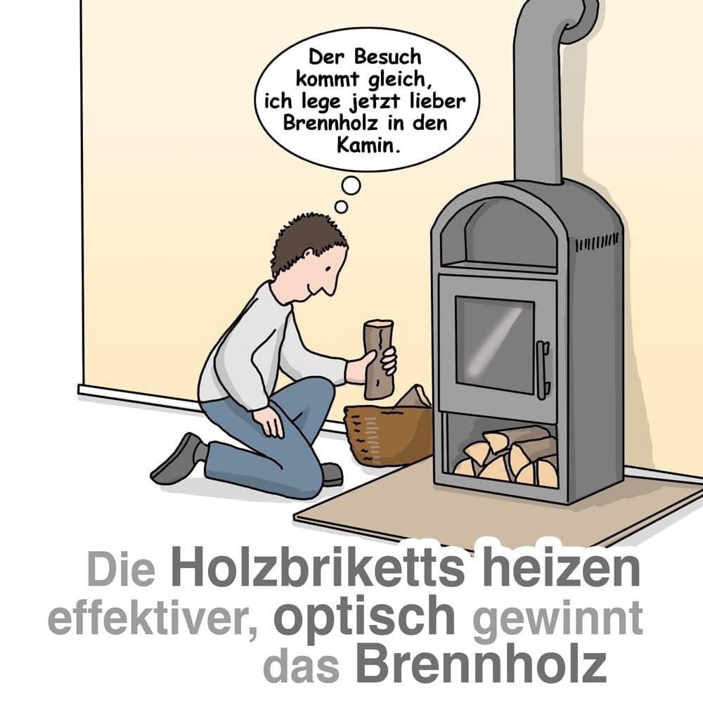 Holzbriketts heizen effektiv, Brennholz verbrennt schön