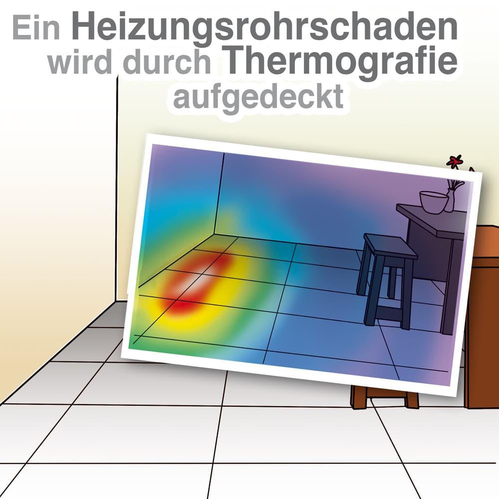 Ein Heizunsrohrschaden kann durch Thermografie aufgedeckt werden