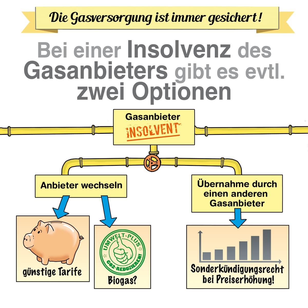 Bei der Insolvenz des Gasanbieters gibt es zwei Optionen