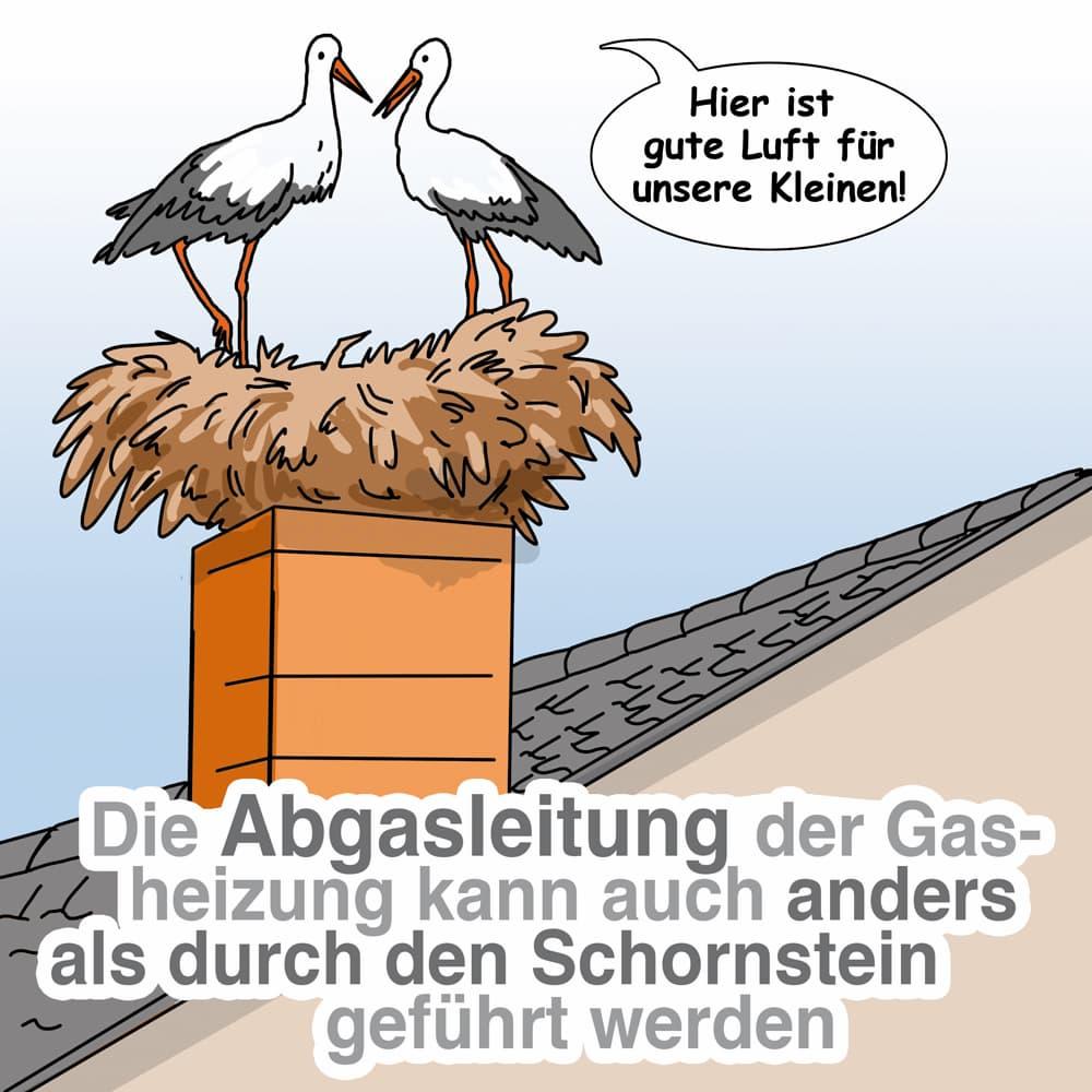 Die Abgasleitung kann auch anders verlegt werden als durch den Schornstein
