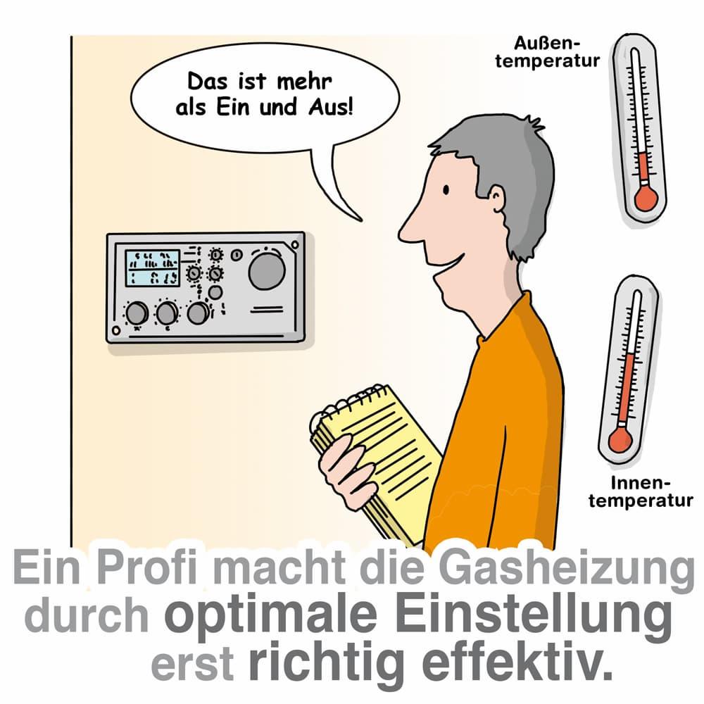 Eine optimale Einstellung ist entscheidend für die Gasheizung