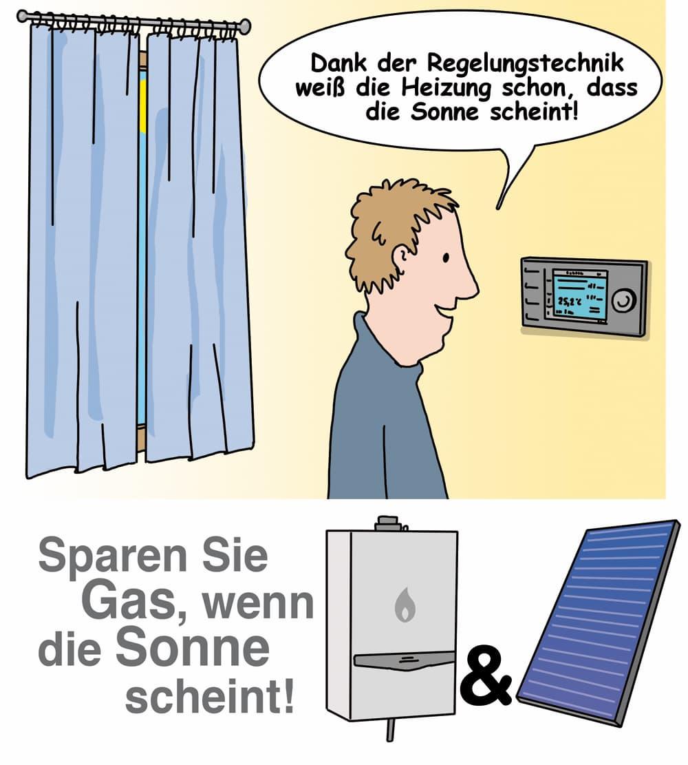 Gasheizung und Solarthermie: Sparen Sie Gas wenn die Sonne scheint