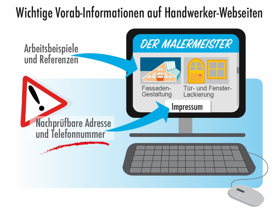 Informationen auf der Handwerker-Webseite einsehen