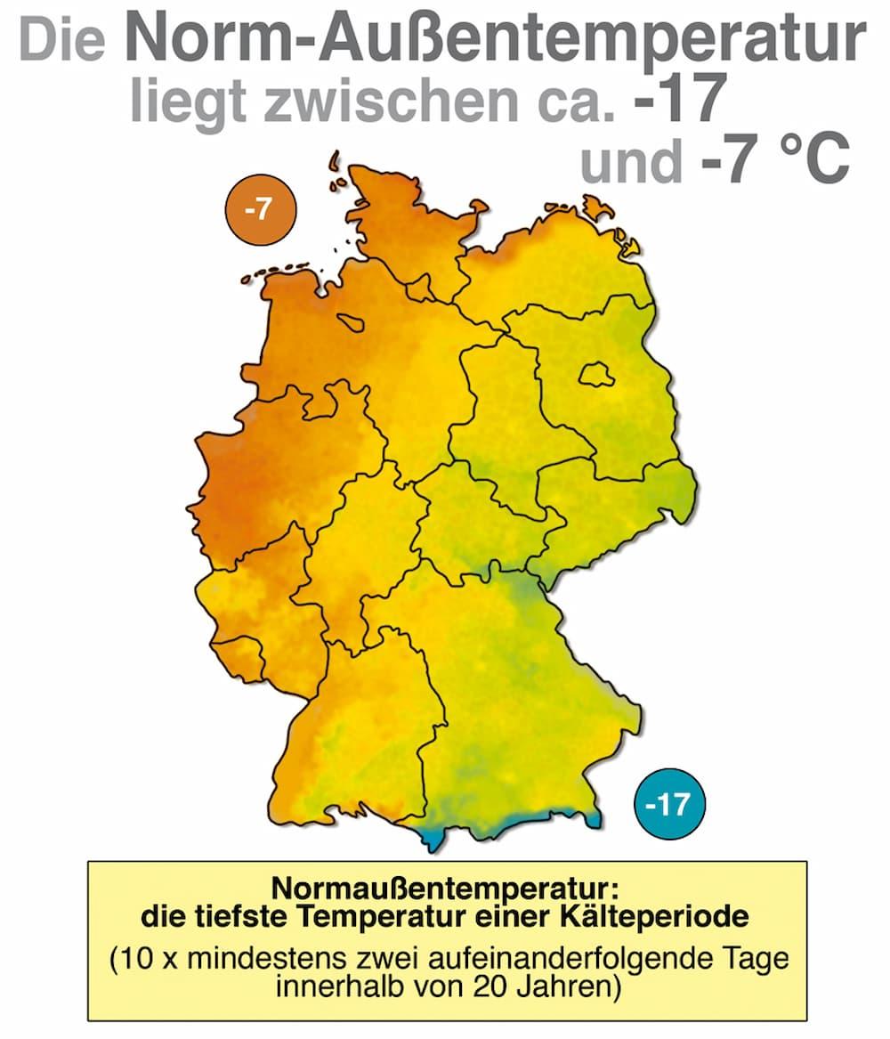 Die Norm-Außentemperatur in Deutschland