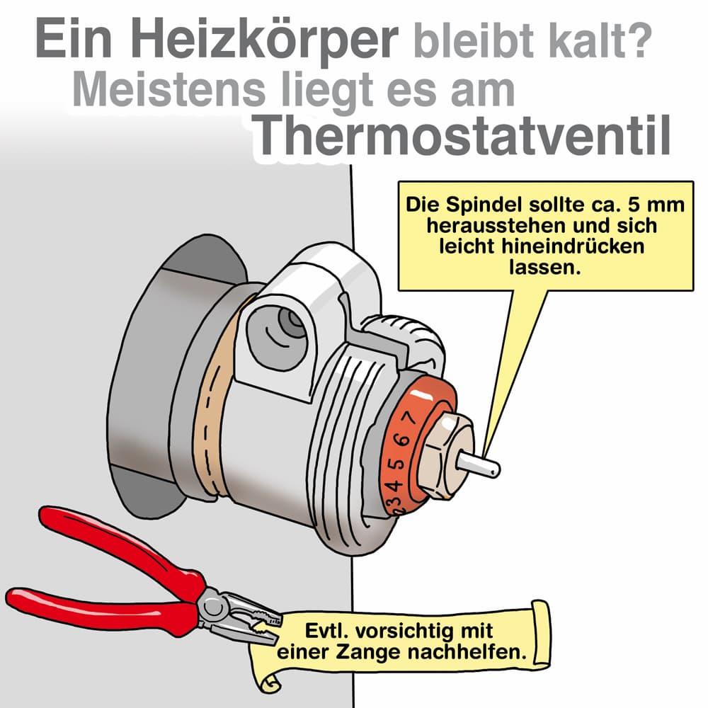 Ein Heizkörper bleibt kalt: Oft liegt es am Thermostatventil