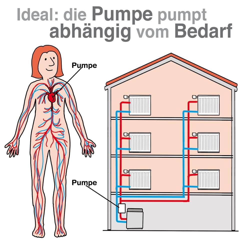 Ideal: Die Heizungspumpe pumpt abhängig vom Bedarf