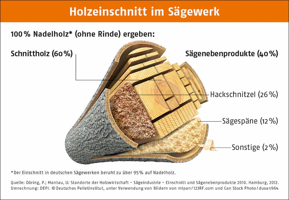 Holzeinschnitt im Sägewerk © Deutsches Pelletinstitut