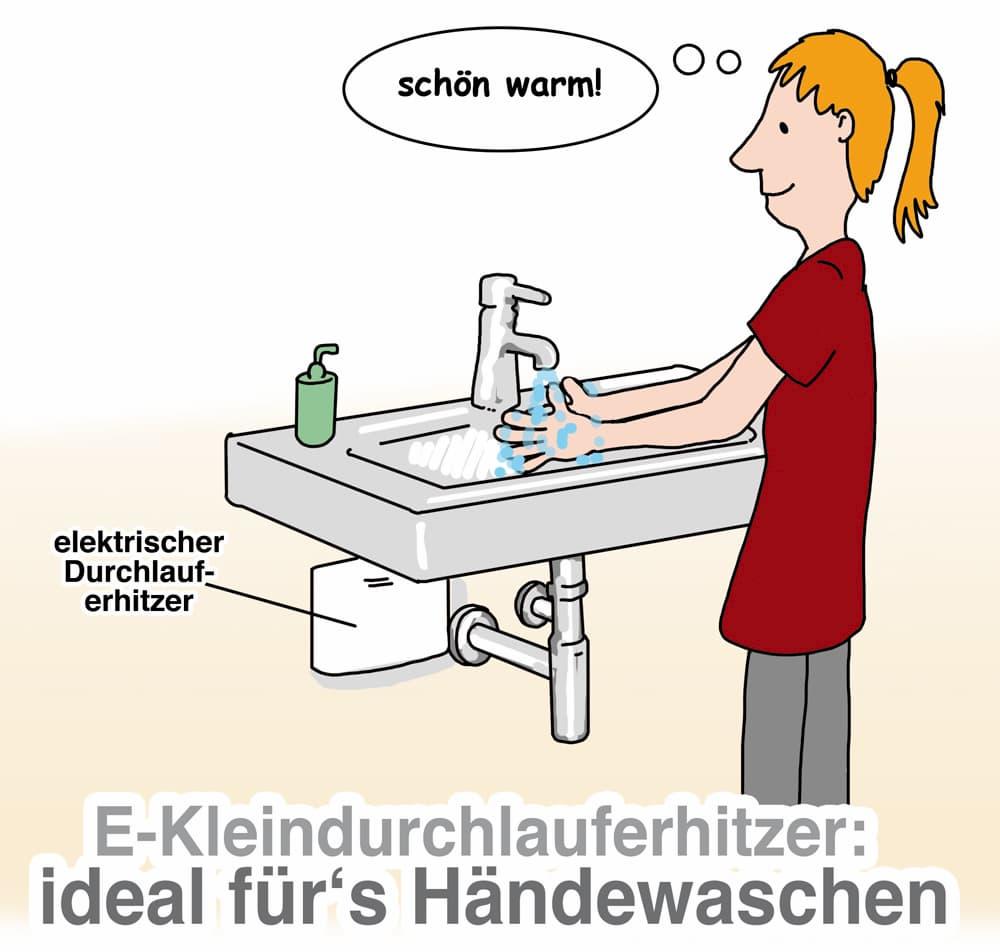 Kleindurchlauferhitzer sind ideal für das Händewaschen