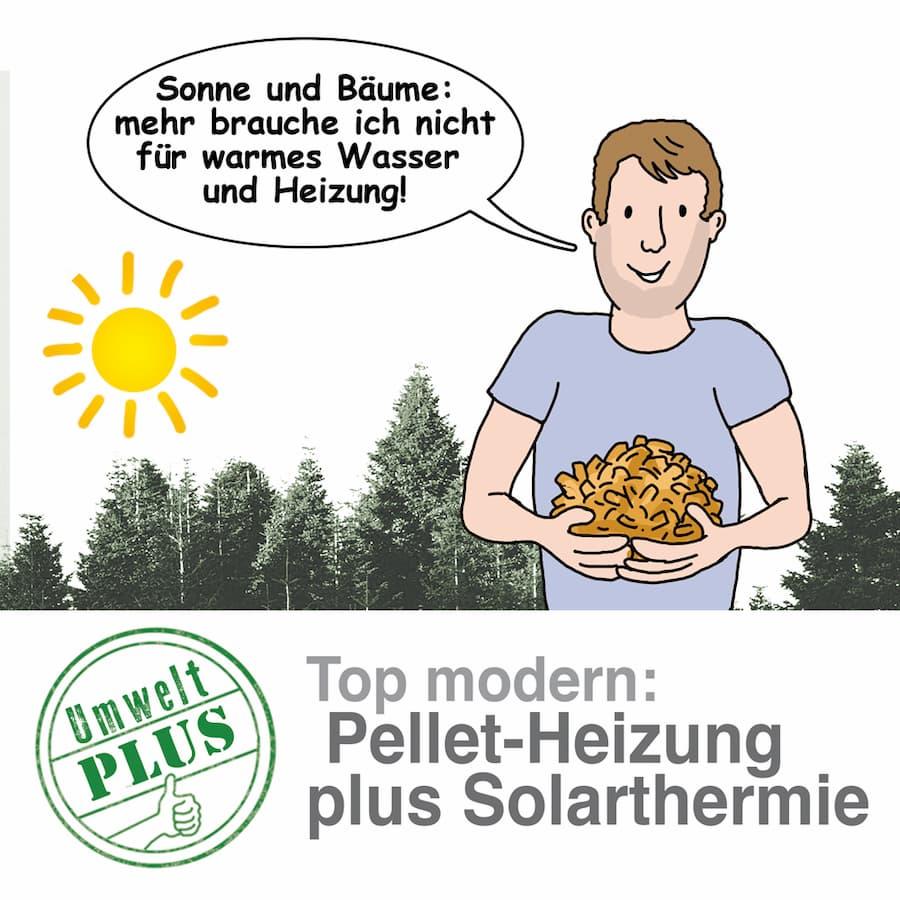 Pelletheizung kann man gut mit Solarthermie kombinieren