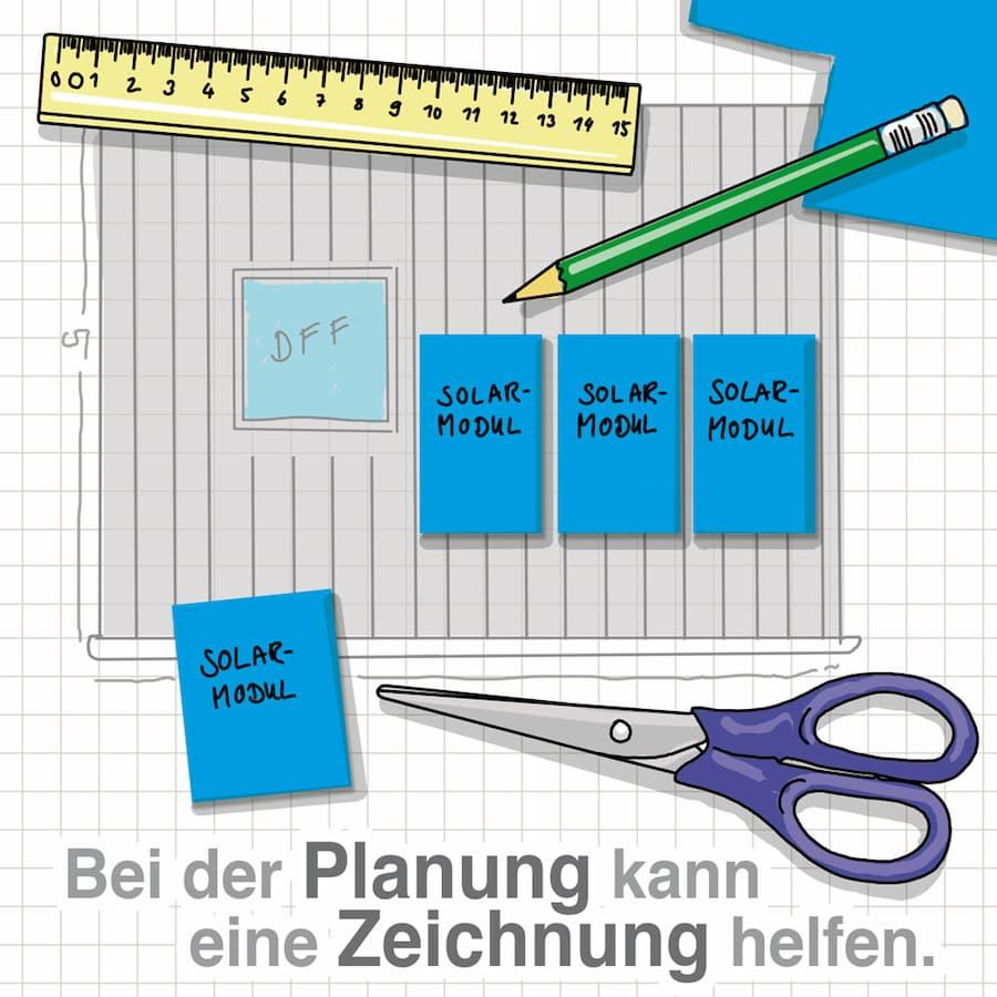 PV-Anlage: Bei der Planung kann eine Zeichnung helfen