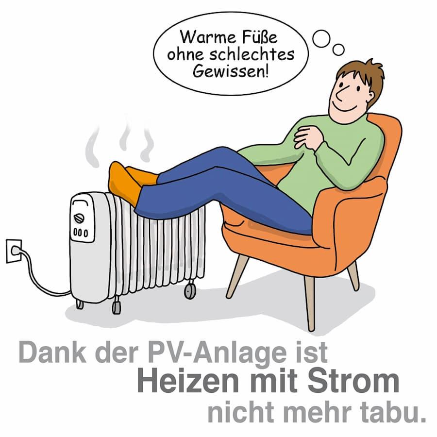Dank der PV-Anlage ist Heizen mit Strom nicht mehr tabu