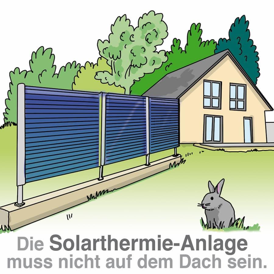 Solarthermie-Anlage können auch im Garten aufgestellt werden