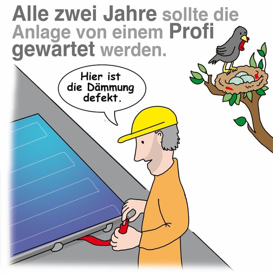 Solarthermie Wartungsintervall hängt auch vom Zustand der Anlage ab