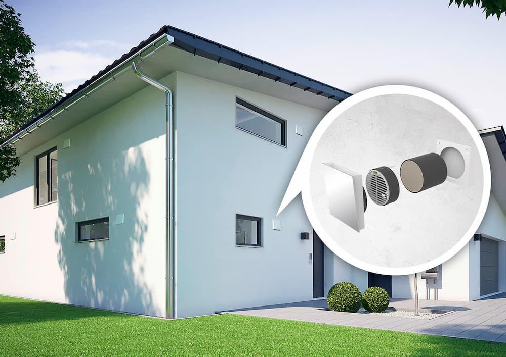 Haus mit dezentraler Wohnraumlüftung © Kermi GmbH